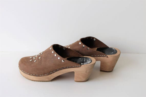 Brown Leather Clogs Platform DALA Clogs Wedges Woo