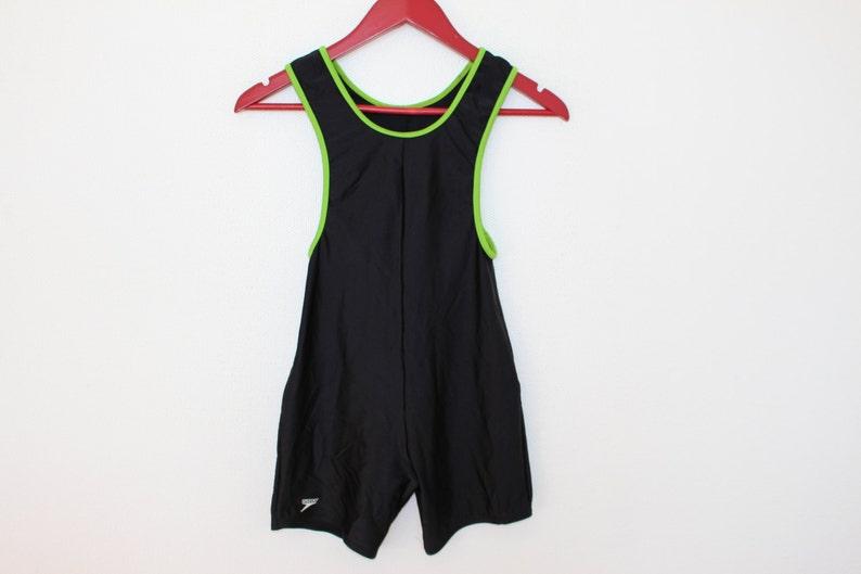 04d67c0b7 Mini Jumpsuit Black Green One Piece SPEEDO Swimsuit Vintage
