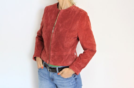Red Leather Jacket JOFAMA Vintage Red Suede Bomber