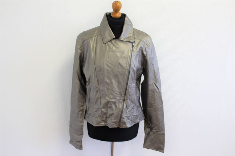 cbba12525 Silver Biker Jacket Cropped metallic textured Faux leather bomber jacket  Golden Silver Bobby Jacket Silver Biker Vegan leather Blazer Medium