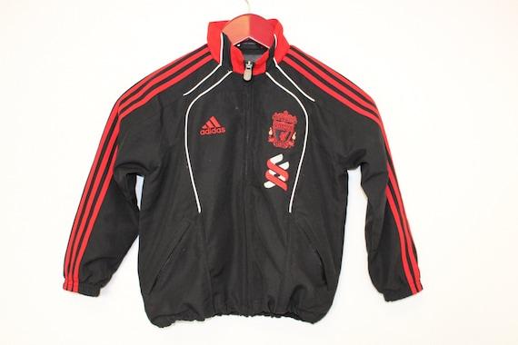 Veste Adidas pour enfants pour enfants rouge noir 3 bandes ADIDAS veste formateur coupe vent Liverpool Football Club Sports Anorak Track Jacket 2XS