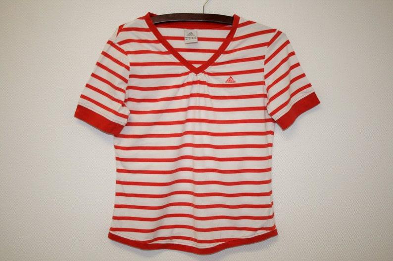 65948e27a27 Red White Adidas Top / Vintage Adidas Shirt Striped Adidas T | Etsy