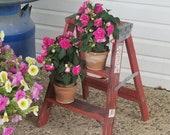 Vintage Step Ladder, Flower Stand, Indoor Plant Stand, Porch Decor, Garden Decor, Flower Stand