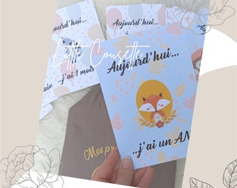 Personalized pouch + 24 step cards or forest animals theme milestone cards to keep a memory of baby's milestones!