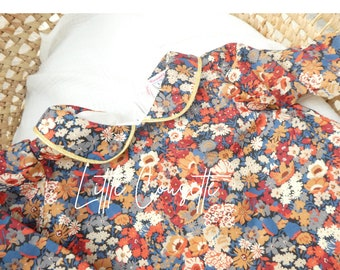 Baby blouse in real fabric Liberty of London-Col Claudine or flying collar