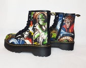 Horror chunky boots, custom shoes, classic films, Frankenstein, werewolf, women shoes, gothic shoes, alternative, oddities, Dracula shoes