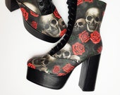 Platform shoes, skulls and roses boot, alternative, skull, gothic, boot, chunky heels, skull, wedding rock your sole, pastel goth, Halloween