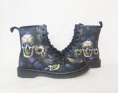 Skulls and purple roses, Goth boots, skull shoes, women shoes, custom, Halloween, goth gift, vegan, pastel goth, creepy cute, rock your sole