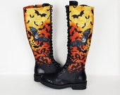 Halloween, halloween boots, bats, goth shoe, knee high boot, women boot, alternative, orange shoe, rock your sole, creepy cute, long boots