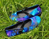 Galaxy, shoes, custom pumps, nebula gift, hippie, boho, space print, gift idea, Mary Jane's flats, rock your sole, galaxy flats, pastel goth