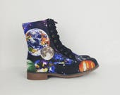 Galaxy shoes, vegan leather, vegan leather, earth, geek shoes, galaxy boot, nebula, geek gift, astrological gift, planet, boho, bohemian