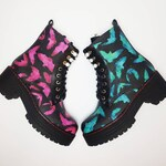Odd boots, pastel goth, harajuku, kawaii, bats, pink and blue, turquoise shoes, women ankle boot, gothic, emo, teenager, gift, odd socks