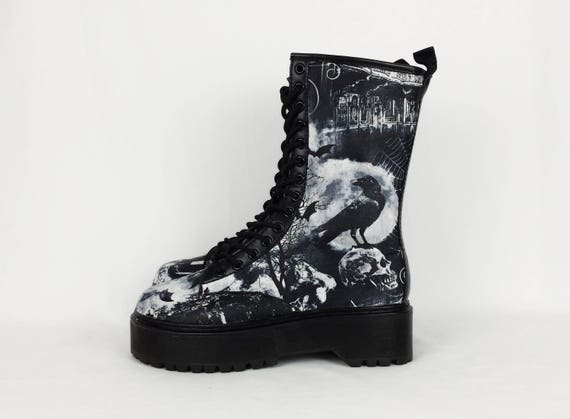 Goth boots platform shoes skull shoes ghost creepy  895622a9c24b