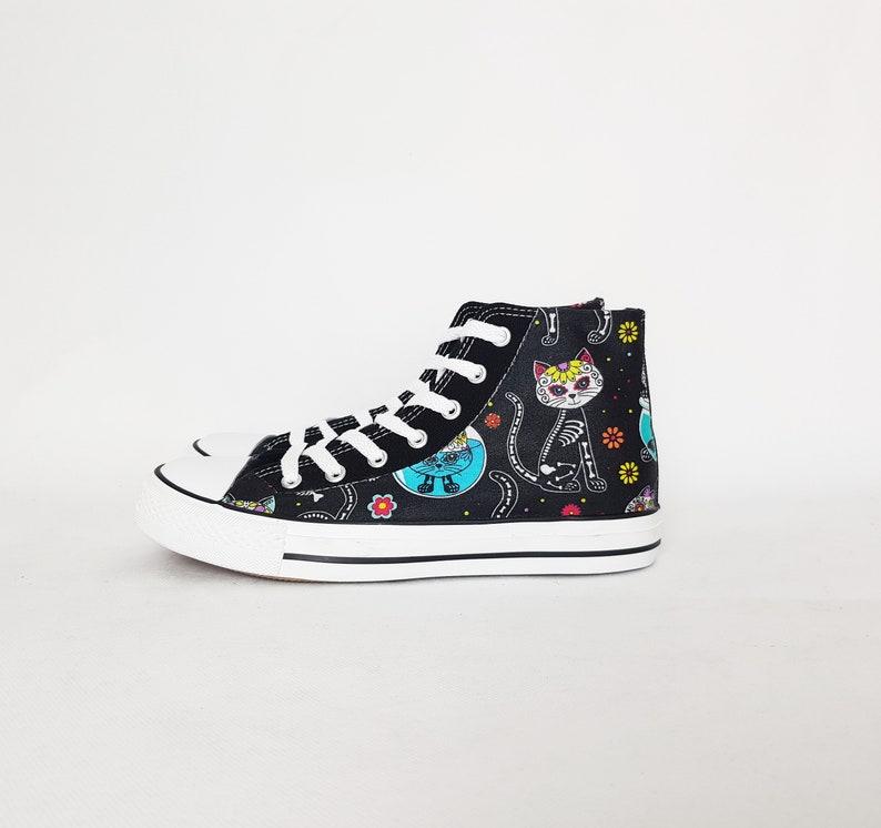 Cat, sugar skull, day of the dead, bones, custom plimsolls, women trainers, hi tops, rockabilly, custom sneakers, gift for her, skater shoes
