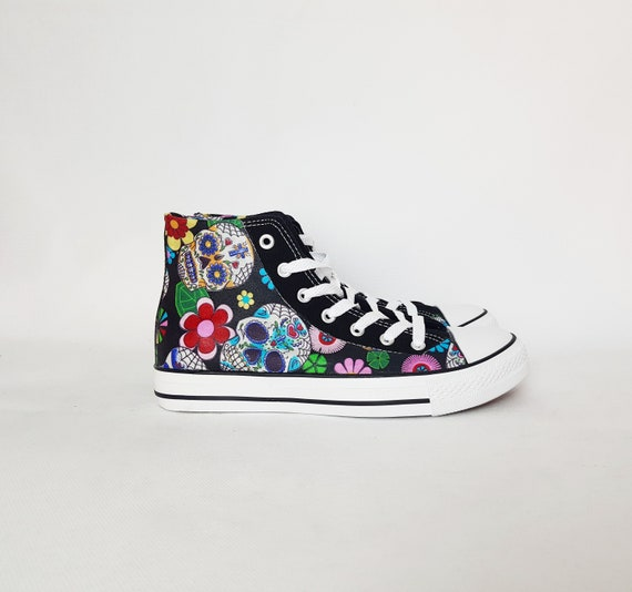 Sugar skull shoes, custom plimsolls, skull trainers, hi tops, rockabilly, day of the dead, sugar skull sneakers, gift for her, women shoes