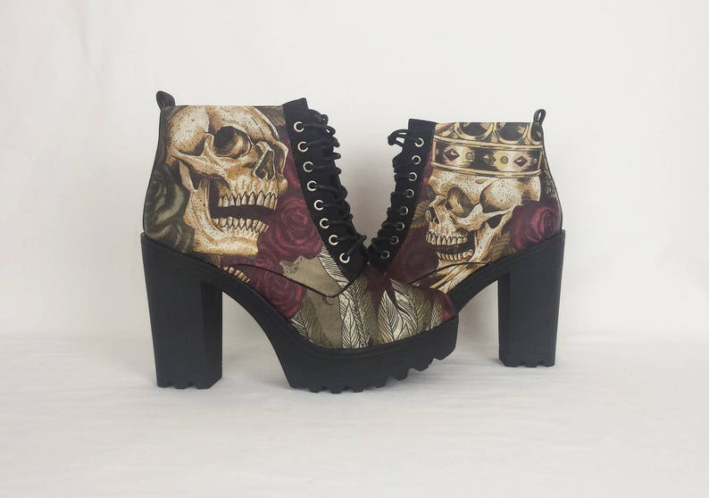 daa146ce7c5 Platform shoes skull boot alternative skull gothic