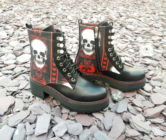 Goth boots, black and red, platform shoes, skull shoes, creepy, oddities, halloween, alternative, women shoes, gothic clothing, gift for her