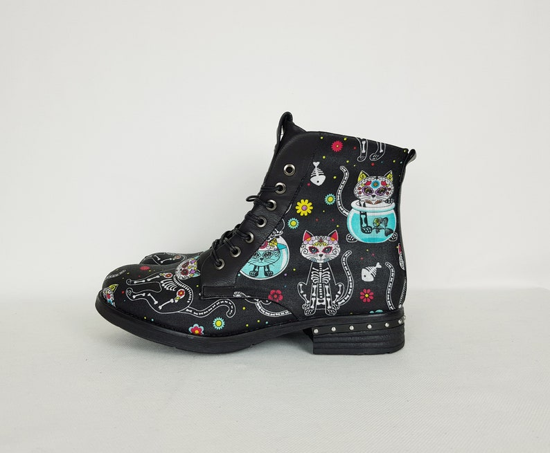 2ee6ba32c22 Cat print shoes cat lady gift sugar skull cat day of the