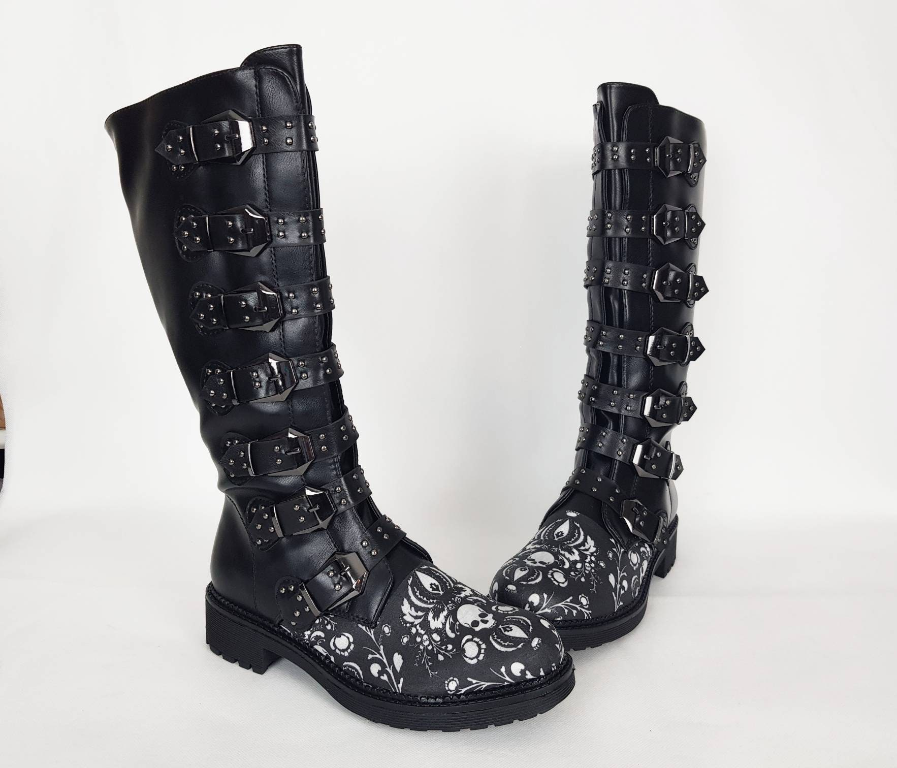 Damask skull Gothic boots goth shoes