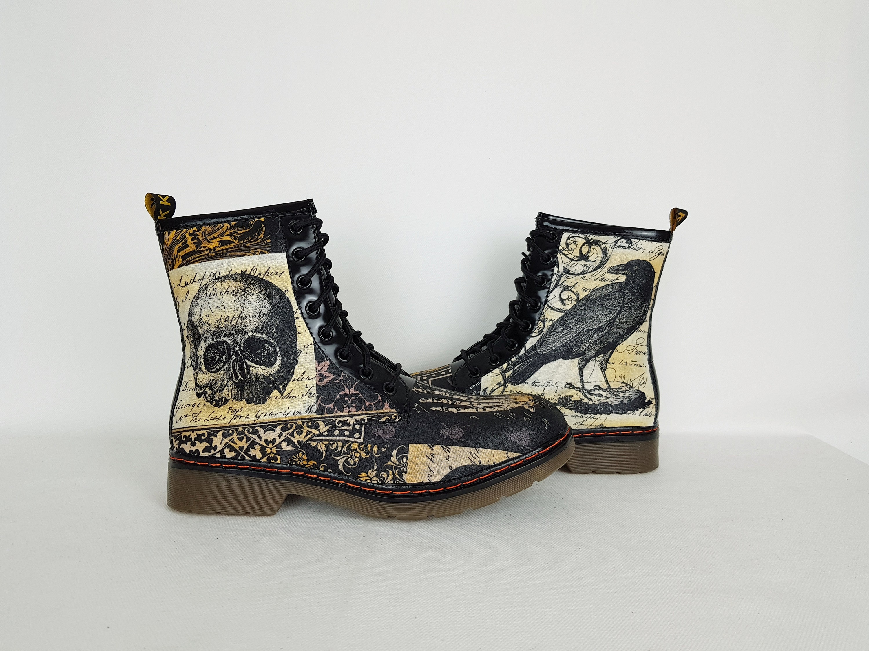 Crow shoes, nevermore, goth nevermore shoes, alternative, women shoes, nevermore goth shoes, skulls shoes, steampunk shoes, gothic, gift for her, halloween 7baaf3
