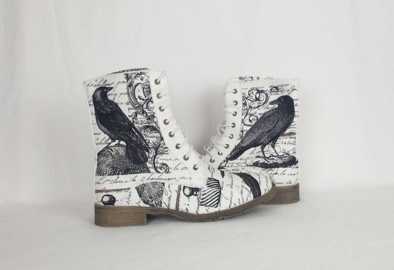372738519b7 Raven shoes,nevermore boots, Edgar Allan Poe, gothic shoes, steampunk  shoes, vegan leather, raven shoes, gift for her, white boots, poetry