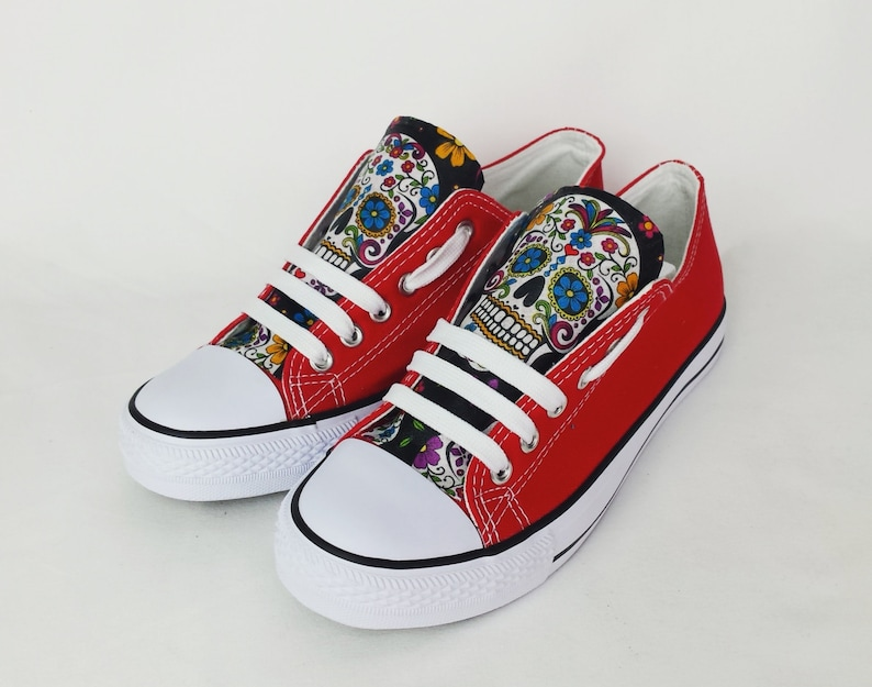 b96bacec65f Red shoes red skull shoes sugar skulls day of the dead