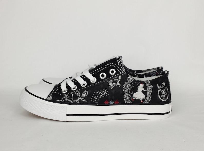 da1ff75e216c5 Alice in Wonderland shoes custom women shoes Alice sneakers