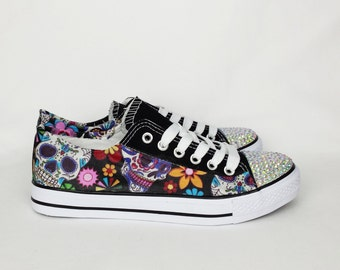 Day of the dead, custom shoes, women shoes, sugar skull shoes, custom skull shoes, alternative, custom converse style pumps, gift for her
