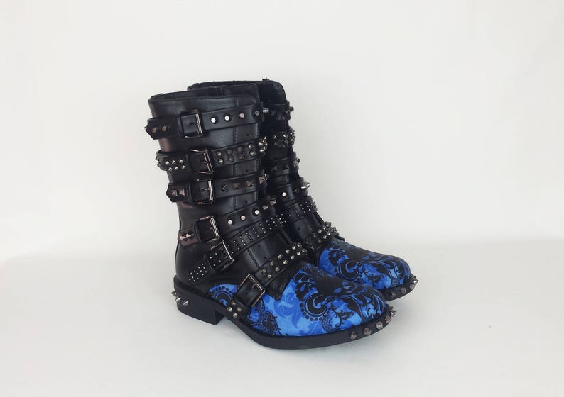 273e2ff2e7 Pastel goth, gothic boots, skull boots, women shoes, customized boot, blue  boots, custom shoe, alternative fashion, lolita shoe, gift her