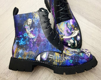 Alice in wonderland, alice in wonderland shoes, original, steampunk, custom shoes, women boots, gift for her, synthetic, Christmas present