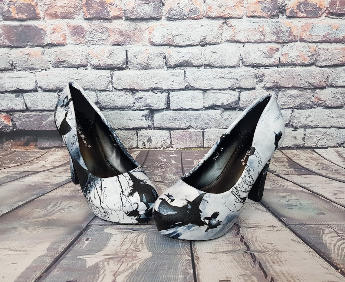 Witch heels, Halloween shoes, Halloween wedding, witchy, women shoes, oddities, alternative, gothic wedding, alternative bride, gift for her