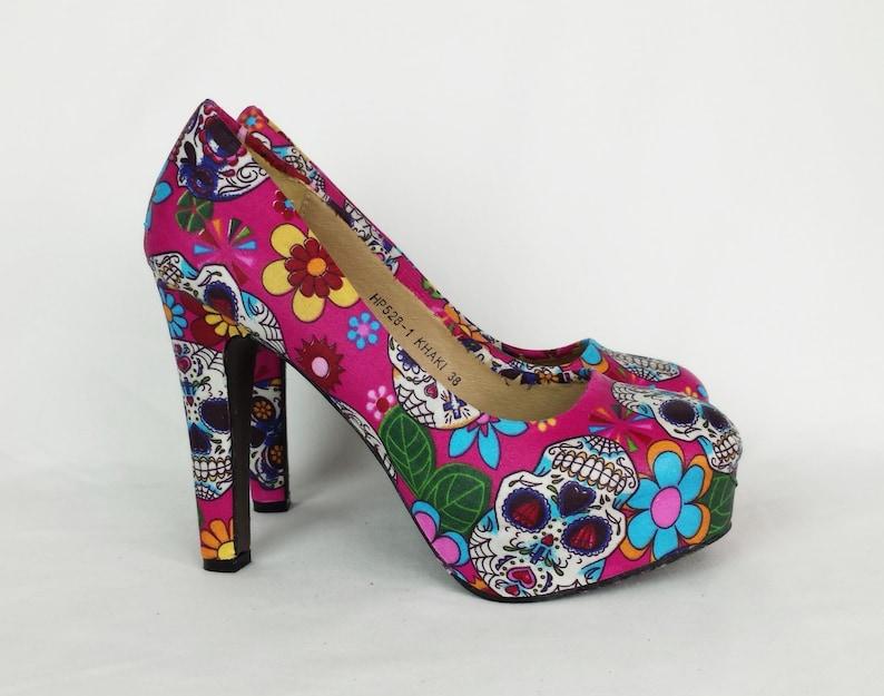 21f80608a77a Day of the dead pink heels sugar skull heels candy skull