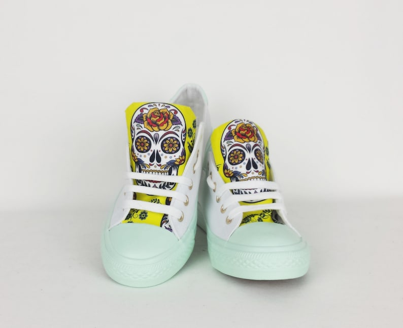 c2d65ffd0a781 Mint yellow shoes, sugar skull, day of the dead, women shoe, rockabilly,  gift for her, birthday gift, summer shoe, dia de los muertos, skull
