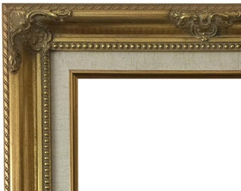 06f5d7790a5e1 West Frames Estelle Antique Gold Leaf Wood Baroque Picture Frame with  Natural Linen Liner