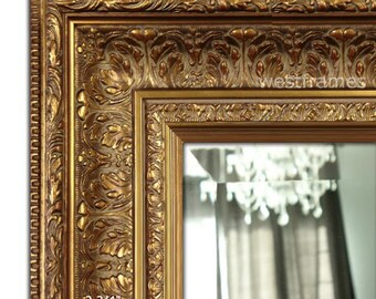 9777eab4b28c West Frames Elegance Ornate Embossed Antique Gold Framed Wood Wall Mirror