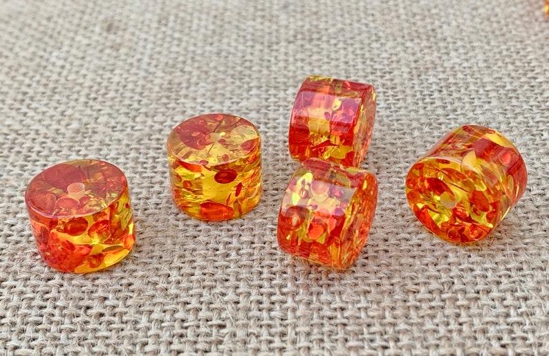 Speckled Resin Column Bead 11x15mm Amber /& Orange 2mm hole 1