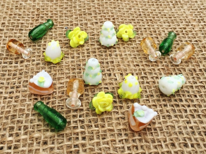 12-20mm Lampwork Glass Bridal Shower Bracelet Wedding Beads