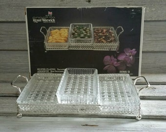 Vintage Royal Warwick Silver Plated Hors D'Oeuvres Tray, Made In England, 3 Dish Pickle Tray