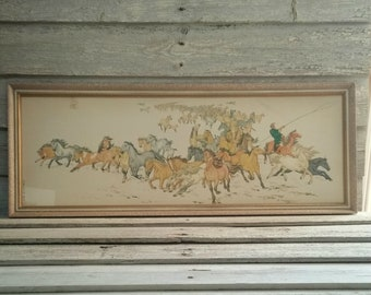 Vintage Art Print By Renowned Artist Yin Shoushi, Titled Horses, Chinese Visual Artist Print 1953