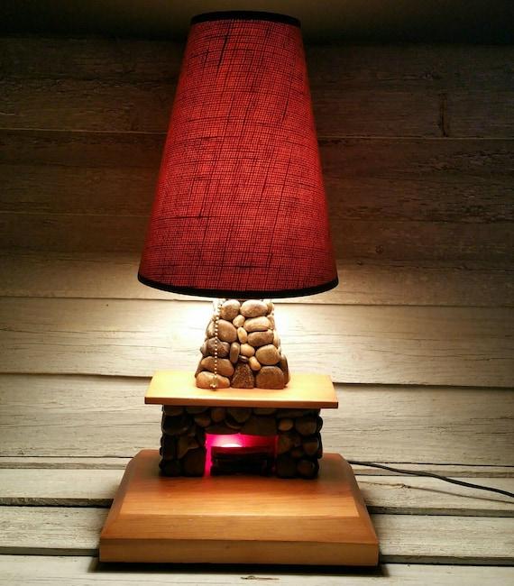 Vintage River Rock Fireplace Table Lamp Hand Made Folk Art Etsy