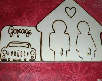 Key Hanger He & she with garage-customizable with names.
