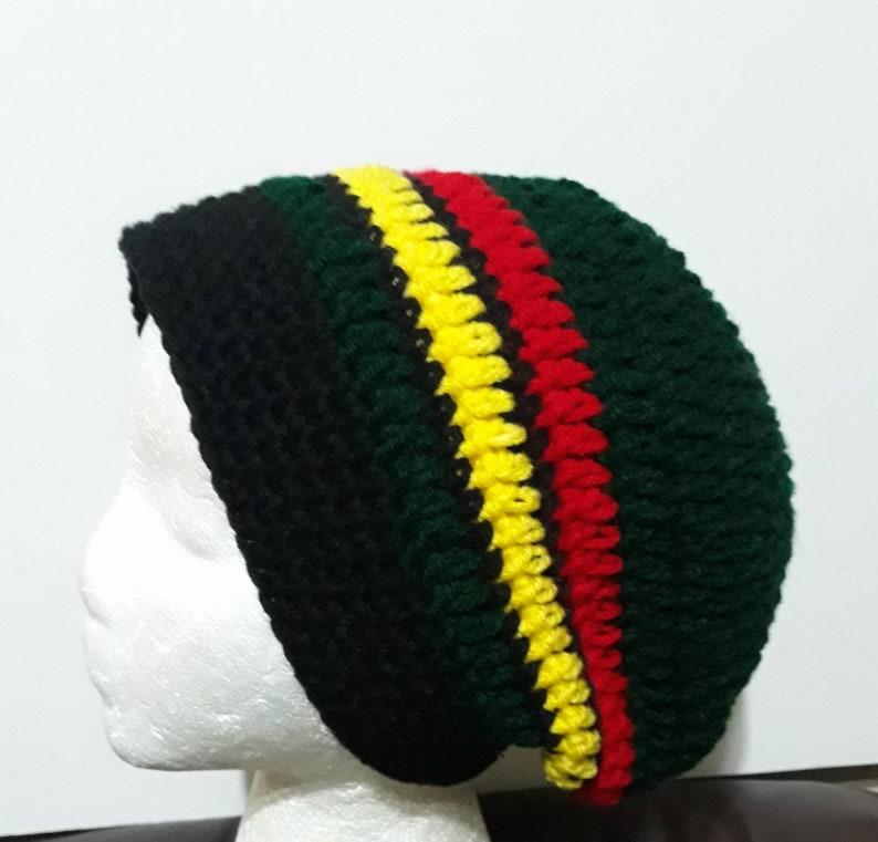 Rasta Tan Slouchy Crochet Rasta Hat Beanie Etsy