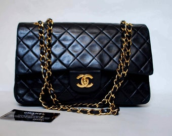 7b37707ea6a5 Authentic CHANEL Lambskin Quilted Medium Double Flap