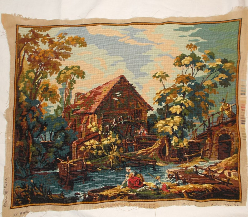 Completed Needlepoint Tapestry Vintage French needlepoint The watermill Countryside.