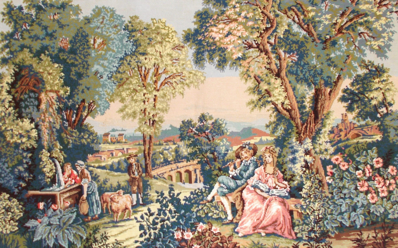 GRL complété toile Tapisserie Tapisserie à l'aiguille. l'aiguille. l'aiguille. Pays scène Verdure Romantique du XVII Aubusson. Idéal pour les tissus d'ameublement, des sacs, des coussins, encadrement e6a3fa