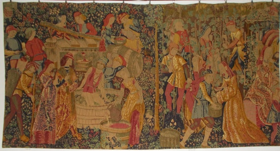Vendange I French Tapestry Wall Hanging