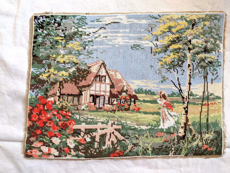 /'Cottage garden/'   19 12   x  14 12 Lovely Vintage French Needlepoint Tapestry completed hand sewn tapestry