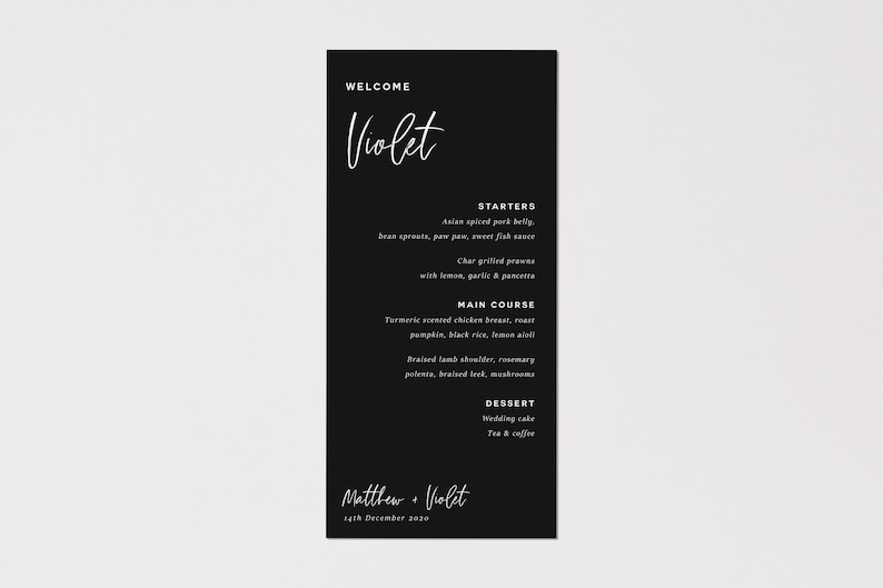 Personalised Menu  Place Card  Calligraphy