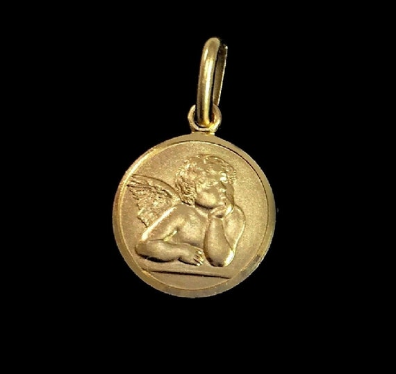 solid yellow gold 750/% 18K Angel protector Pendant