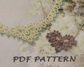 Tatting lace necklace pdf pattern (Cupid's Heart)